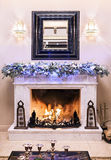 Fireplace decorated for Christmas Royalty Free Stock Images