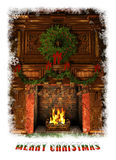 Fireplace decorated for Christmas, 3d CG. 3d Computer Graphics of a Fireplace decorated for Christmas with Holly Wreath, Garland and Stockings Stock Photography