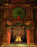 Fireplace decorated for Christmas. 3d Computer Graphics of a Fireplace decorated for Christmas with Holly Wreath, Garland and Stockings Stock Images