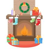 The fireplace is decorated for Christmas. New Year`s decoration. vector illustration
