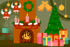 Fireplace decorated for Christmas night. Vector illustration of fireplace decorated for Christmas night Stock Images