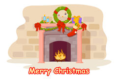 Fireplace decorated for Christmas night. Vector illustration of fireplace decorated for Christmas night Stock Photo