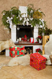 Fireplace decorated. For the new year Stock Images