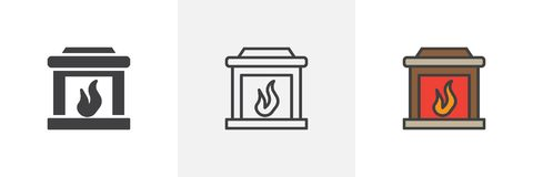 Fireplace different style icon. Fireplace icon. Line, solid and filled outline colorful version, outline and filled vector sign. Mantelpiece symbol, logo Royalty Free Stock Photography