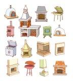 Fireplace doodle set, vector illustration. Stock Photos
