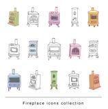 Fireplace doodle set, vector illustration Royalty Free Stock Image