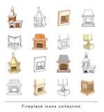 Fireplace doodle set, vector illustration Stock Photos