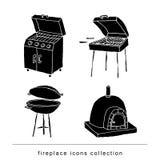 Fireplace doodle set, vector illustration black. Royalty Free Stock Image