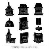 Fireplace doodle set, vector illustration black. Royalty Free Stock Photos