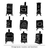 Fireplace doodle set, vector illustration black color.  Stock Photography