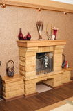Fireplace in a drawing room. Royalty Free Stock Photos