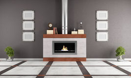 Fireplace in a elegant lounge. Contemporary  gas fireplace in a elegant room - rendering Stock Photo