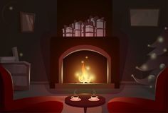 Fireplace With Empty Chairs, Merry Christmas And Happy New Year Winter Holiday. Concept Banner Flat Vector Illustration Stock Images