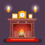 Fireplace Evening Discussing Concept Icon Background Flat Design Vector Illustration. Fireplace Evening Discussing Concept Icon Background Flat Vector Stock Photo