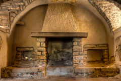 Fireplace in Farmhouse Stock Images