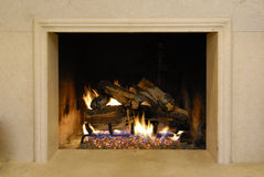 Fireplace and Fire Stock Photo