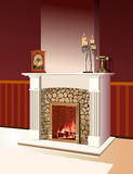 Fireplace with a fire burning in Royalty Free Stock Image