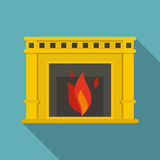 Fireplace with fire burning icon, flat style. Fireplace with fire burning icon. Flat illustration of fireplace with fire burning vector icon for web  on baby Royalty Free Stock Images
