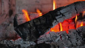 Fireplace with fire and burning wood stock video