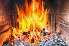 Fireplace with fire. Stock Images