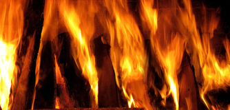 Fireplace and fire flame Royalty Free Stock Photos