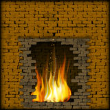 Fireplace fire in the old stone wall. Vector illustration fire in the fireplace of the old brick wall. There is a place for text or image, you can use any text Stock Image