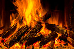 Fireplace with fire Stock Photo