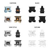 Fireplace, fire, warmth and comfort. Different kinds of fireplace set collection icons in cartoon black monochrome. Outline style vector symbol stock Isometric Royalty Free Stock Photography