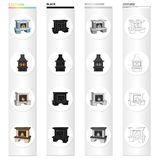 Fireplace, fire, warmth and comfort. Different kinds of fireplace set collection icons in cartoon black monochrome. Outline style vector symbol stock Isometric Royalty Free Stock Photos