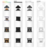 Fireplace, fire, warmth and comfort. Different kinds of fireplace set collection icons in cartoon black monochrome. Outline style vector symbol stock Isometric Stock Photo