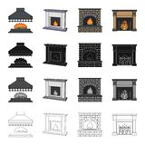 Fireplace, fire, warmth and comfort. Different kinds of fireplace set collection icons in cartoon black monochrome. Outline style vector symbol stock Isometric Stock Image
