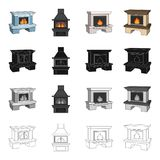 Fireplace, fire, warmth and comfort. Different kinds of fireplace set collection icons in cartoon black monochrome Royalty Free Stock Image