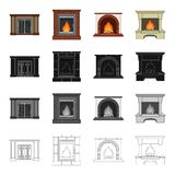 Fireplace fire warmth and comfort. Different kinds of fireplace set collection icons in cartoon black monochrome outline style vector symbol stock Isometric Stock Photography