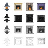 Fireplace fire warmth and comfort. Different kinds of fireplace set collection icons in cartoon black monochrome outline style vector symbol stock Isometric Royalty Free Stock Image