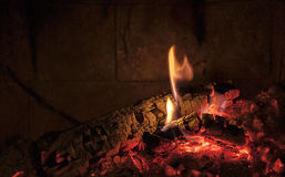 Fireplace fire wood in the winter Royalty Free Stock Photography
