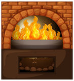 Fireplace with fire and woods Stock Photography