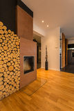 Fireplace with firewood Royalty Free Stock Photos