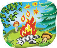 Fireplace in forest illustration. Fireplace in forest cartoon illustration Royalty Free Stock Photography