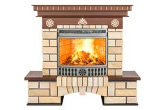 Fireplace front view, 3D rendering royalty free illustration