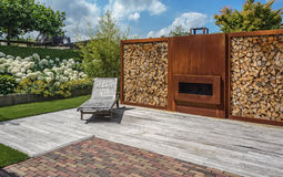 Fireplace in the garden. Stock Image