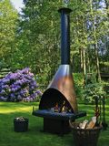 Fireplace. Grill Oven Fireplace in the Backyard royalty free stock photo