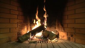 Fireplace. The hearth of fire in the fireplace is always full of warmth stock video footage