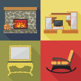 Fireplace home decoration icon set, flat style. Digital vector image Royalty Free Stock Image