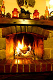 Fireplace. Home Fire burning in the fireplace. Seasonal and holiday fire Stock Photo