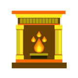 Fireplace home vector fire interior illustration decoration object mantelpiece bright light Stock Photo