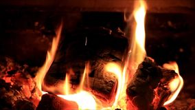 Fireplace at home, winter, inside, fire, burning, energy stock video