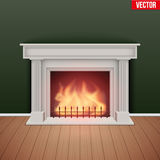 Fireplace in house cozy room. Royalty Free Stock Photos