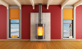 Fireplace in a house in the mountains. Red living room of a house in the mountains with fireplace - rendering Stock Images