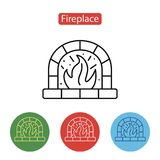 Fireplace Icon. Christmas decorations. Fireplace Icon. Christmas decoration icon or logo in modern line style. Outline pictogram for web site design and mobile Stock Photos