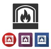 Fireplace icon in different variants. With long shadow Royalty Free Stock Photos